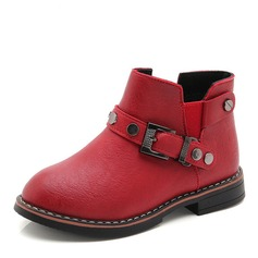 Girl's Round Toe Closed Toe Ankle Boots Leatherette Flat Heel Flats Boots Flower Girl Shoes With Buckle Rivet Elastic Band