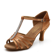 Women's Satin Heels Sandals Latin With T-Strap Hollow-out Dance Shoes (053111415)