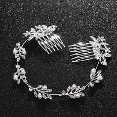Señoras Niza Aleación Diademas con Rhinestone/Perla Veneciano (Se venden en una sola pieza)