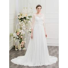 A-Line/Princess Scoop Neck Sweep Train Chiffon Lace Wedding Dress With Ruffle Flower(s)