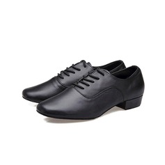 Men's Real Leather Pumps Latin Ballroom Practice With Lace-up Dance Shoes