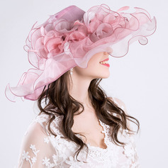 Ladies' Elegant/Charming Net Yarn With Flower Beach/Sun Hats/Kentucky Derby Hats/Tea Party Hats