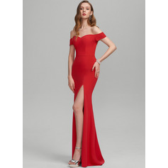 Sheath/Column Off-the-Shoulder Floor-Length Stretch Crepe Prom Dresses With Split Front (018224425)