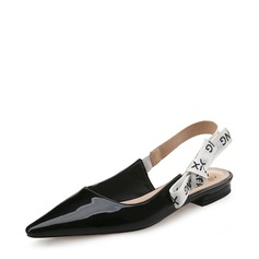 Women's Patent Leather Flat Heel Flats Closed Toe Slingbacks With Bowknot shoes