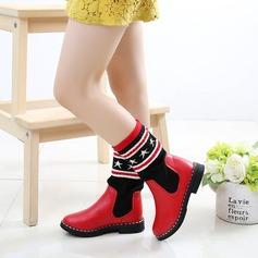 Fille de bout rond Bottes mi-mollets similicuir talon plat Chaussures plates Bottes
