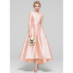 A-Line/Princess Scoop Neck Asymmetrical Satin Cocktail Dress (016096569)