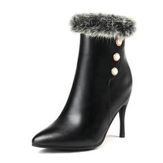 Kvinner Lær Stiletto Hæl Lukket Tå Støvler Ankelstøvler med Imitert Perle Faux-Fur sko