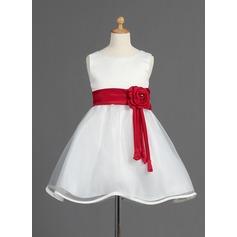 Corte A/Princesa Hasta la rodilla Vestidos de Niña Florista - Organdí/Satén Sin mangas Escote redondo con Fajas/Cuentas/Flores/Lazo(s)