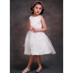 Vestidos princesa/ Formato A Comprimento médio Vestidos de Menina das Flores - Cetim/Tule Sem magas Decote redondo com fecho de correr