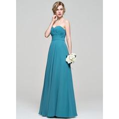 Vestidos princesa/ Formato A Amada Longos tecido de seda Vestido de madrinha com Pregueado