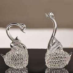 Elegante cisne Vidrio Accesorios (2 piezas)