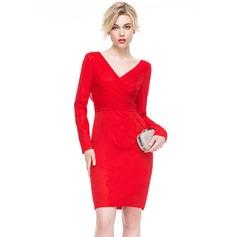 Платье-чехол V-образный Длина до колен Jersey Коктейльные Платье с Рябь