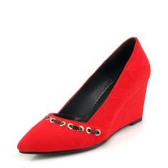 Femmes Suède Talon compensé Escarpins Bout fermé Compensée avec Rivet chaussures