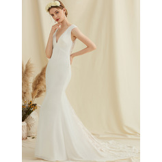 Trumpet/Mermaid V-neck Court Train Chiffon Lace Wedding Dress