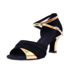 Mulheres Couro Camurça Saltos Sandálias Bombas Latino com Correia de Calcanhar Sapatos de dança