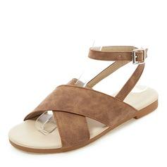 Mulheres Couro Sem salto Sandálias Sem salto Peep toe Sapatos abertos com Fivela sapatos