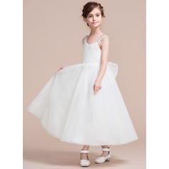 Forme Princesse Longueur mollet Robes à Fleurs pour Filles - Tulle/Dentelle Sans manches Col V avec À ruban(s)/V retour