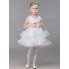 Robe Marquise Court/Mini Robes à Fleurs pour Filles - Tulle Sans manches Col V avec Strass