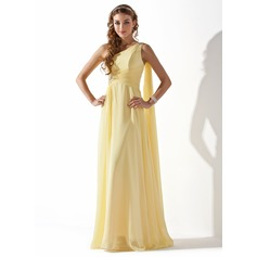 A-Line/Princess One-Shoulder Floor-Length Chiffon Holiday Dress With Ruffle Beading (020013793)