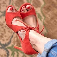 Frauen PU Stöckel Absatz Sandalen mit Zuschnüren Schuhe
