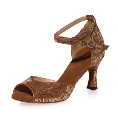 Femmes Suède Talons Sandales Latin avec Lanière de cheville Chaussures de danse