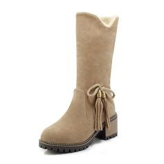 Kvinder Ruskind Stor Hæl Støvler Mid Læggen Støvler Snestøvler med Bowknot sko