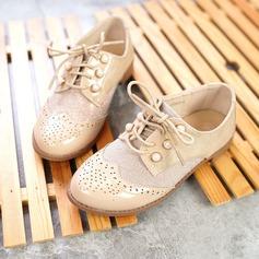 Mädchens Geschlossene Zehe Leder Flache Ferse Flache Schuhe mit Perlstickerei Zuschnüren