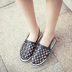 Frauen Microfaser Leder Flascher Absatz Sandalen Flache Schuhe mit Niete Schnalle Schuhe