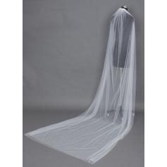 Duas camada Catedral véus de noivas com Corte da borda