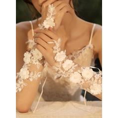 Tyl/Blonder Wrist Længde Brude Handsker med Blomst/Imiteret Pearl