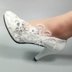 Kvinnor Konstläder Stilettklack Stängt Toe Pumps med Beading Stitching Lace