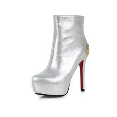 Mulheres Couro verdadeiro Salto agulha Plataforma Bota no tornozelo com Lantejoulas sapatos