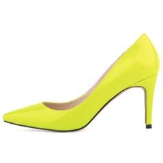 Vrouwen Patent Leather Stiletto Heel Pumps Closed Toe schoenen