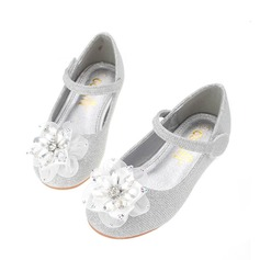 Girl's Round Toe Leatherette Flat Heel Flower Girl Shoes With Rhinestone Satin Flower