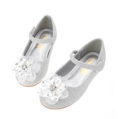 Flicka rund tå konstläder platt Heel Flower Girl Shoes med Strass Satäng Blomma