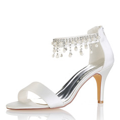 Women's Silk Like Satin Stiletto Heel Peep Toe Pumps Sandals With Tassel