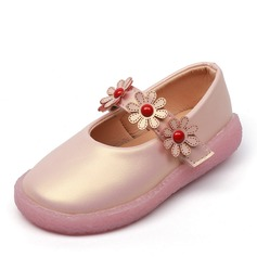 Jentas Round Toe Leather flat Heel Flate sko Flower Girl Shoes med Profilering Velcro Blomst