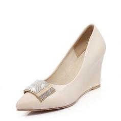 Женщины PU Вид каблука Закрытый мыс Танкетка с горный хрусталь обувь