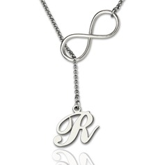 Custom Silver Infinity Name Necklace Initial Necklace - Valentines Gifts (288209258)