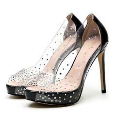 Donna PU Tacco a spillo Sandalo Stiletto con Strass scarpe