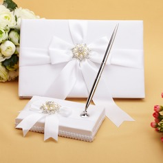 Perfect Faux Pearl/Ribbons/Rhinestones Guestbook & Pen Set