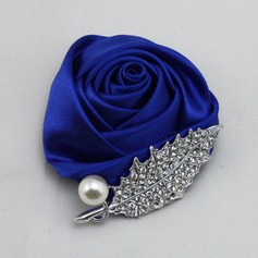 Romantic Round Satin Boutonniere/Men's Accessories (123084648)