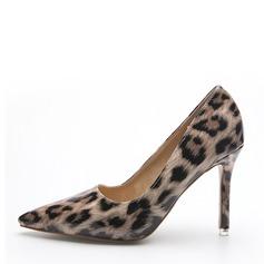 Frauen Lackleder Stöckel Absatz Absatzschuhe Geschlossene Zehe mit Tierdruckmuster Schuhe
