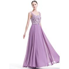 Vestidos princesa/ Formato A Decote quadrado Longos De chiffon Vestido de festa com Bordado Apliques de Renda lantejoulas