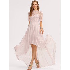 A-Linie High Neck Asymmetrisch Chiffon Brautjungfernkleid