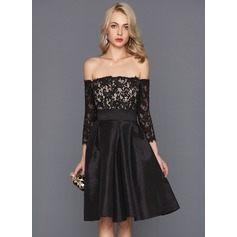 A-formet/Prinsesse Off-the-Shoulder Knelengde Taft Cocktailkjole