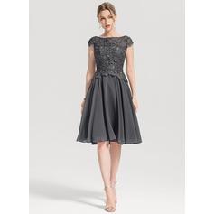Vestidos princesa/ Formato A Decote redondo Coquetel Tecido de seda Vestido de cocktail