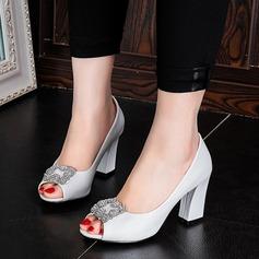 De mujer Cuero Tacón ancho Sandalias Salón Encaje con Rhinestone zapatos