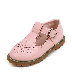 Girl's Leatherette Flat Heel Round Toe Flats With Velcro