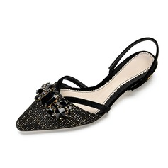 Women's Fabric Low Heel Closed Toe Slingbacks With Rhinestone shoes
